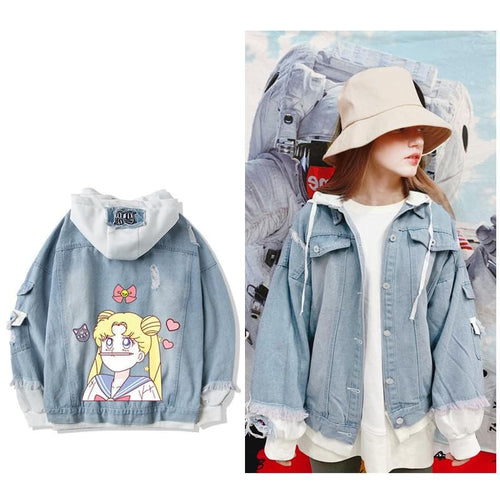 Sailor Moon Usage Denim Hoodie Jacket Coat SP14378
