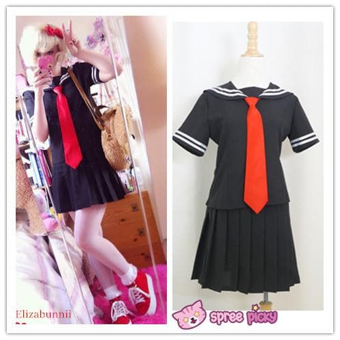 [Set] Sailor Collar School Black Uniform Suit with Red Tie Cosplay Costume SP140987 - SpreePicky  - 1