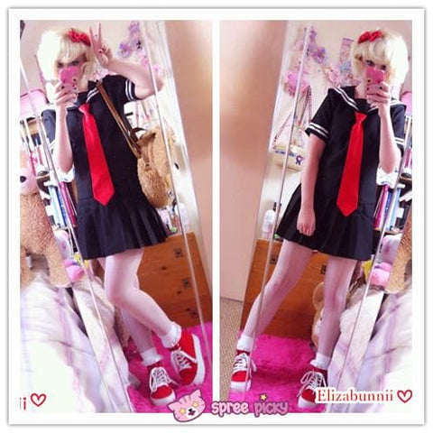 [Set] Sailor Collar School Black Uniform Suit with Red Tie Cosplay Costume SP140987 - SpreePicky  - 2