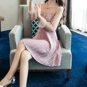 Pink Cute Mesh Stitching Plaid Retro Dress SP13363