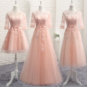 *Free Shipping*Pink/Grey Sweet Bowknot Lace Dress SP1710899