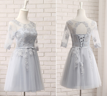 Load image into Gallery viewer, *Free Shipping*Pink/Grey Sweet Bowknot Lace Dress SP1710899