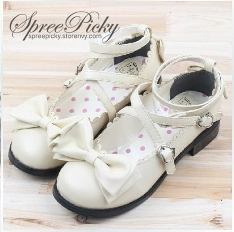 J-Fashion Lolita Bowknot Cross-straps Low-heeled Round Toe  Princess Shoes SP130143 - SpreePicky  - 1