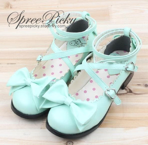 J-Fashion Lolita Bowknot Cross-straps Low-heeled Round Toe  Princess Shoes SP130143 - SpreePicky  - 2