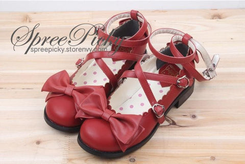 J-Fashion Lolita Bowknot Cross-straps Low-heeled Round Toe  Princess Shoes SP130143 - SpreePicky  - 4