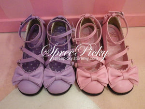 J-Fashion Lolita Bowknot Cross-straps Low-heeled Round Toe  Princess Shoes SP130143 - SpreePicky  - 5