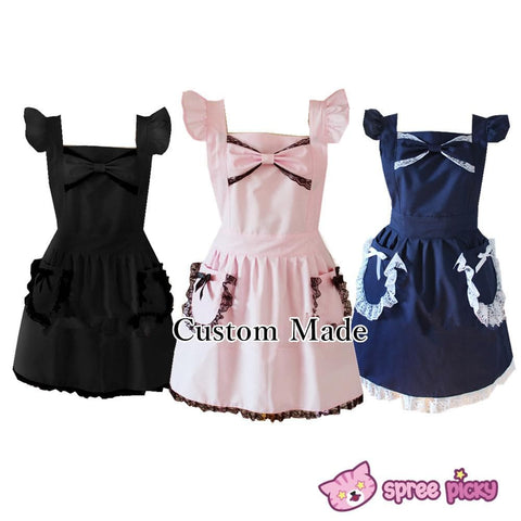 [3 Colors Custom Made] Lolita Kawaii Lace Bow Maid Apron SP141123 - SpreePicky  - 1