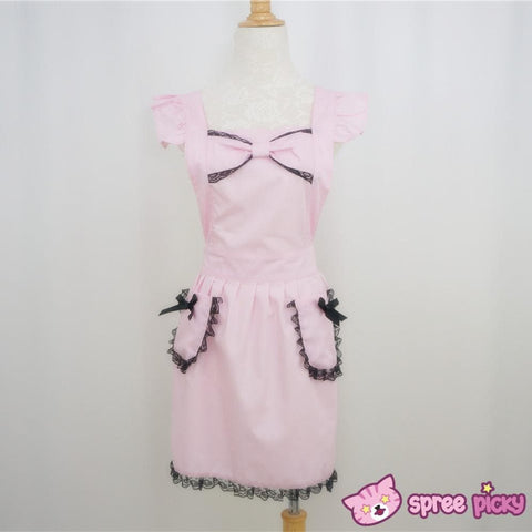 [3 Colors Custom Made] Lolita Kawaii Lace Bow Maid Apron SP141123 - SpreePicky  - 2