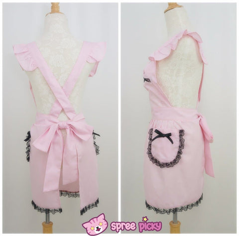 [3 Colors Custom Made] Lolita Kawaii Lace Bow Maid Apron SP141123 - SpreePicky  - 3