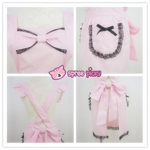 [3 Colors Custom Made] Lolita Kawaii Lace Bow Maid Apron SP141123 - SpreePicky  - 4