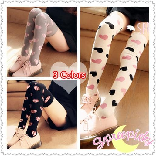 3 Colors Sweet Hearts Over Knees Stockings SP141367 - SpreePicky  - 1