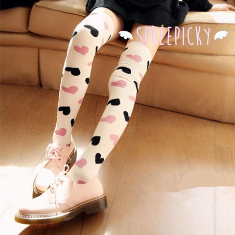 3 Colors Sweet Hearts Over Knees Stockings SP141367 - SpreePicky  - 5