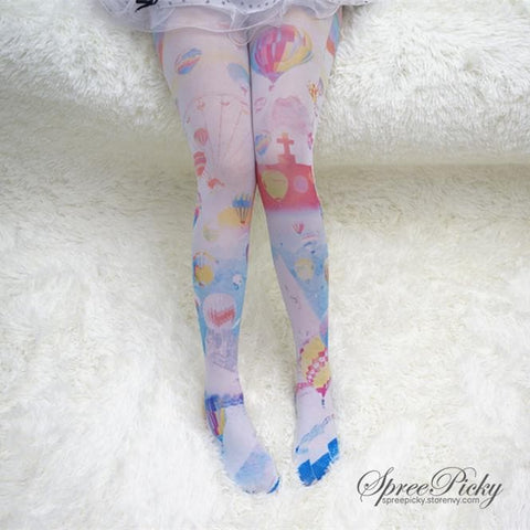 Helium Balloons Cartoons Printing Tights SP140396 - SpreePicky  - 2