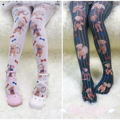 {3 For 2} Kawaii Teddy Bears Printing Tights SP140393 - SpreePicky  - 1