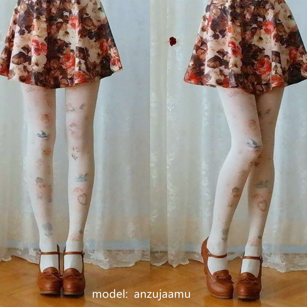 Pink/Beige Lolita Pastel Cute Angels and Flowers Printing Tights  SP140424 - SpreePicky
