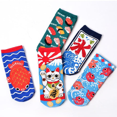 5 Pairs Jfashion Cat Sushi Socks SP1710270
