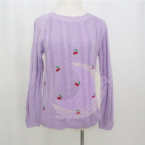 Autumn/Winter Cute Cherry Knitting  Loose Sweater Jumper Top  SP141330 - SpreePicky  - 1