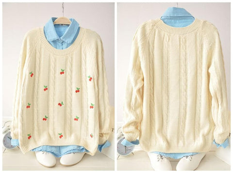 Autumn/Winter Cute Cherry Knitting  Loose Sweater Jumper Top  SP141330 - SpreePicky  - 2