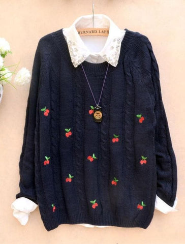 Autumn/Winter Cute Cherry Knitting  Loose Sweater Jumper Top  SP141330 - SpreePicky  - 3