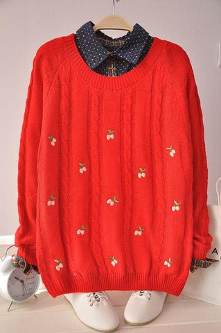 Autumn/Winter Cute Cherry Knitting  Loose Sweater Jumper Top  SP141330 - SpreePicky  - 4