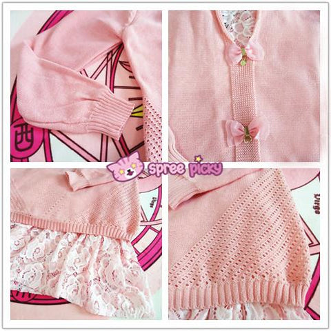 Beige Pink Grey Sweet Lace Bow Two-Piece Sweater SP1710807 - SpreePicky 09594361f