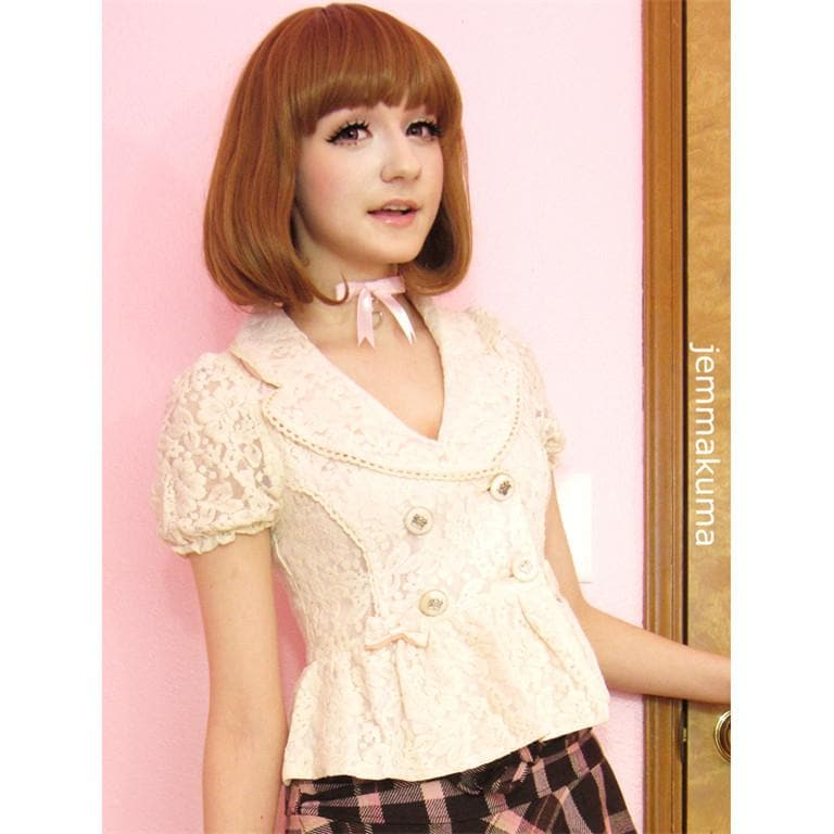 Beige Pale Pink All Lace Bowknots Fashion Small Suits Coat Lace Blazer SP140843 - SpreePicky  - 1