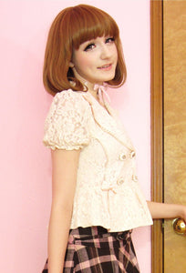 Beige Pale Pink All Lace Bowknots Fashion Small Suits Coat Lace Blazer SP140843 - SpreePicky  - 2