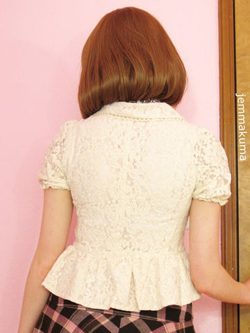 Beige Pale Pink All Lace Bowknots Fashion Small Suits Coat Lace Blazer SP140843 - SpreePicky  - 3