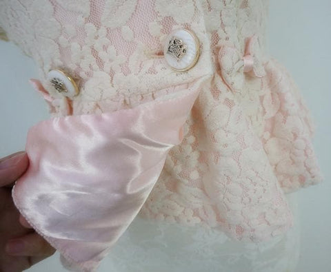 Beige Pale Pink All Lace Bowknots Fashion Small Suits Coat Lace Blazer SP140843 - SpreePicky  - 4