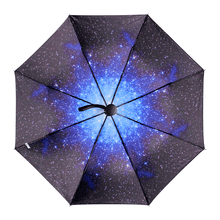 Load image into Gallery viewer, Black/Blue Galaxy Night Umbrella SP179887
