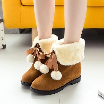 Black/Brown/Red Kawaii Fluffy Ankle Boots SP1710963