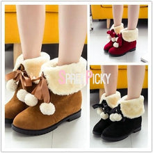 Load image into Gallery viewer, Black/Brown/Red Kawaii Fluffy Ankle Boots SP1710963
