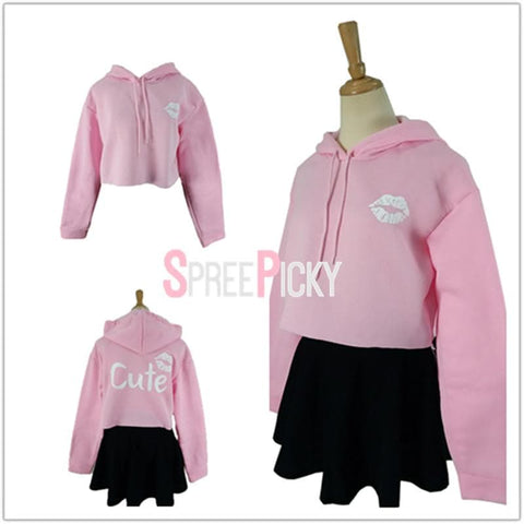 Black/Grey/Pink Kawaii Lip Printing Hoodie Jumper SP1710734