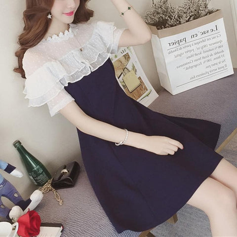 Black/Navy Sweet Lace Lady Dress SP179897