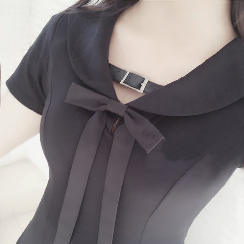 Black Gothic Belt Sailor Dress SP179828