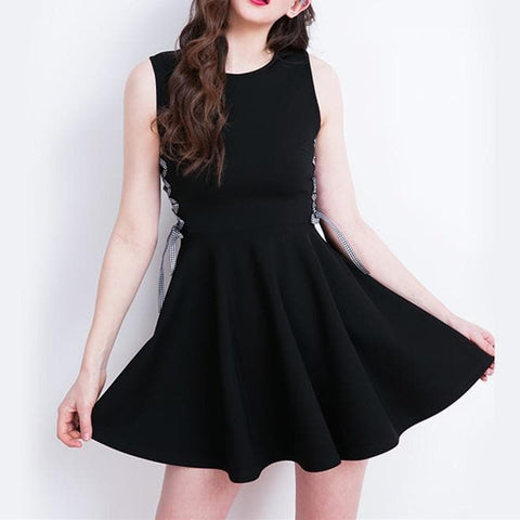 Black Sleeveless with Side Laced Dress SP179831