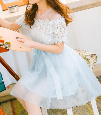 Blue/Pink/White Floral Lace Tulle Dress SP179801