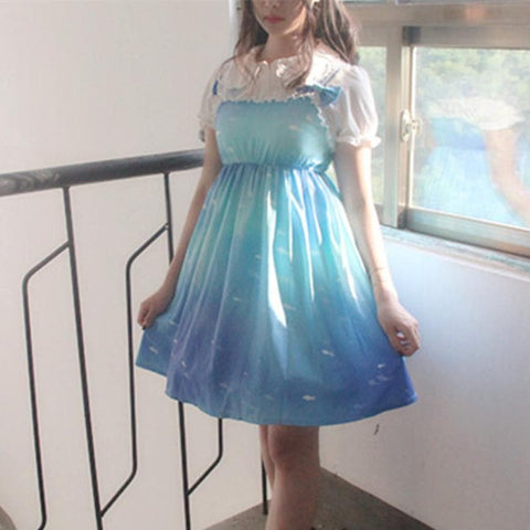 Blue Twilight Bow Lolita Dress SP179715