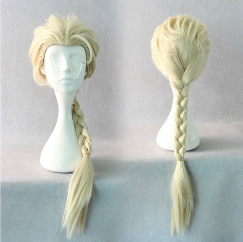 Cosplay Frozen Queen Elsa Braided Pale Gold Wig  SP141192
