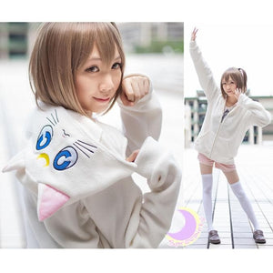 Cosplay Sailor Moon Luna Artemis Polar Fleece Hoodie Sweater Jacket Coat SP141188 - SpreePicky  - 2