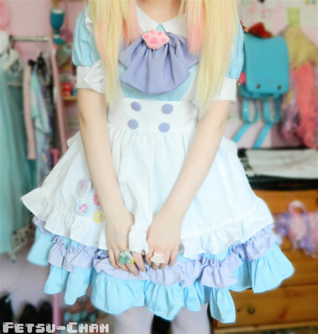 Custom Lolita Princess Maid Dress With Paw Brooch and Black KC SP140839 - SpreePicky  - 1
