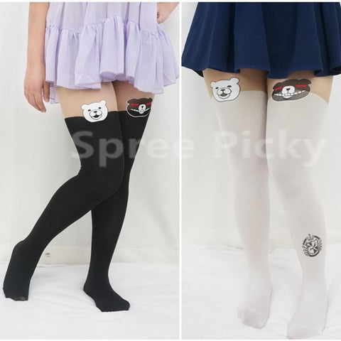 [3 For 2]Dangan Ronpa モノクマPrincipal Monokuma Black/White Bear Fake Over Knees Tights SP141359 - SpreePicky  - 1