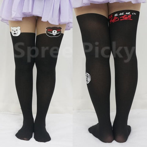 [3 For 2]Dangan Ronpa モノクマPrincipal Monokuma Black/White Bear Fake Over Knees Tights SP141359 - SpreePicky  - 2