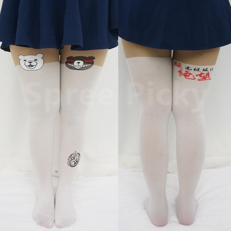 [3 For 2]Dangan Ronpa モノクマPrincipal Monokuma Black/White Bear Fake Over Knees Tights SP141359 - SpreePicky  - 3