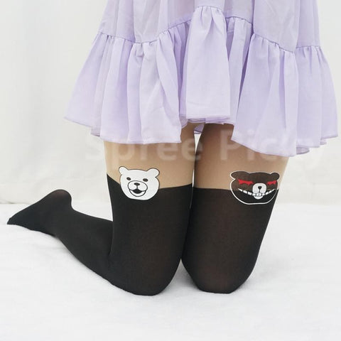 [3 For 2]Dangan Ronpa モノクマPrincipal Monokuma Black/White Bear Fake Over Knees Tights SP141359 - SpreePicky  - 4