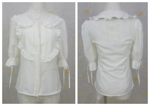 Doll Collar Lace Chiffon Blouse SP140491 - SpreePicky  - 4