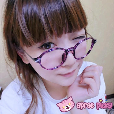Purple Leopard Metal Retro Glasses SP151651