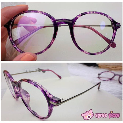 Exclusive Custom Made Purple Leopard Metal Retro Glasses SP151651 - SpreePicky  - 3