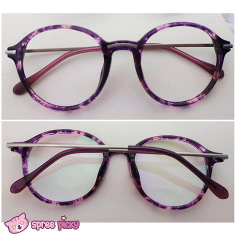 Exclusive Custom Made Purple Leopard Metal Retro Glasses SP151651 - SpreePicky  - 4