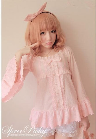 Bowknot Pendulum Sleeve Blouse Top SP140358 - SpreePicky  - 2